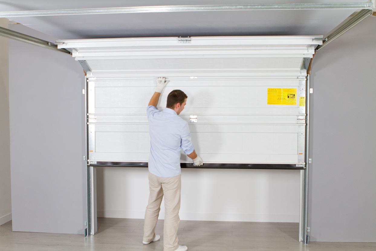 Porte de garage sectionnelle ouverture manuelle voiture moto et auto - Porte garage sectionnelle manuelle ...
