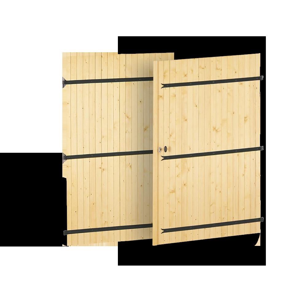 Porte de garage en bois 4 vantaux