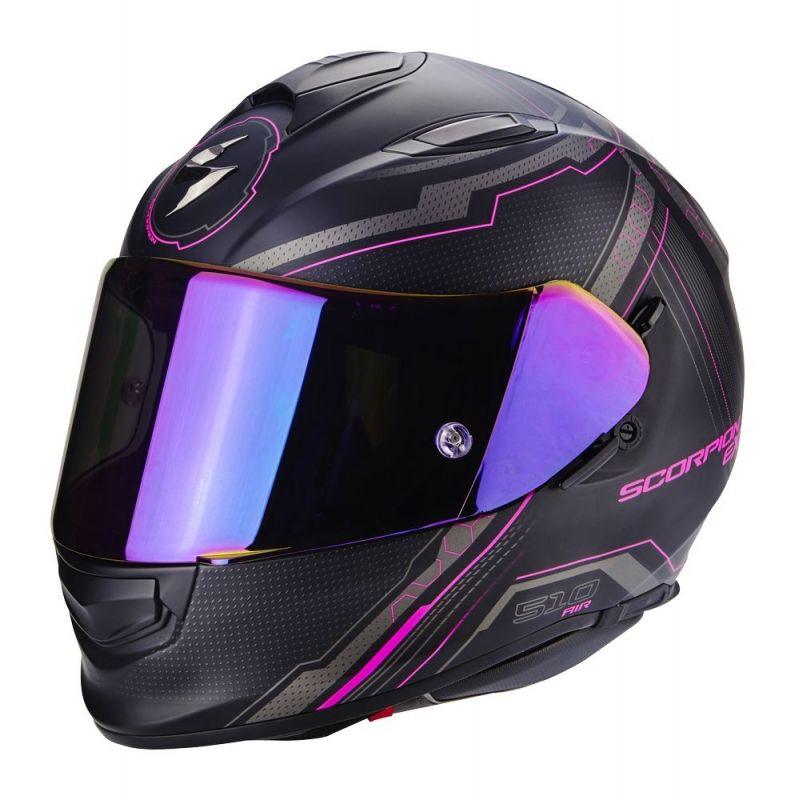 Casque moto rose et noir