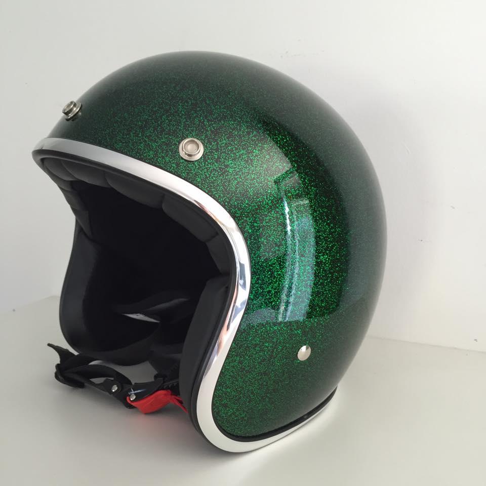Casque moto jet vert