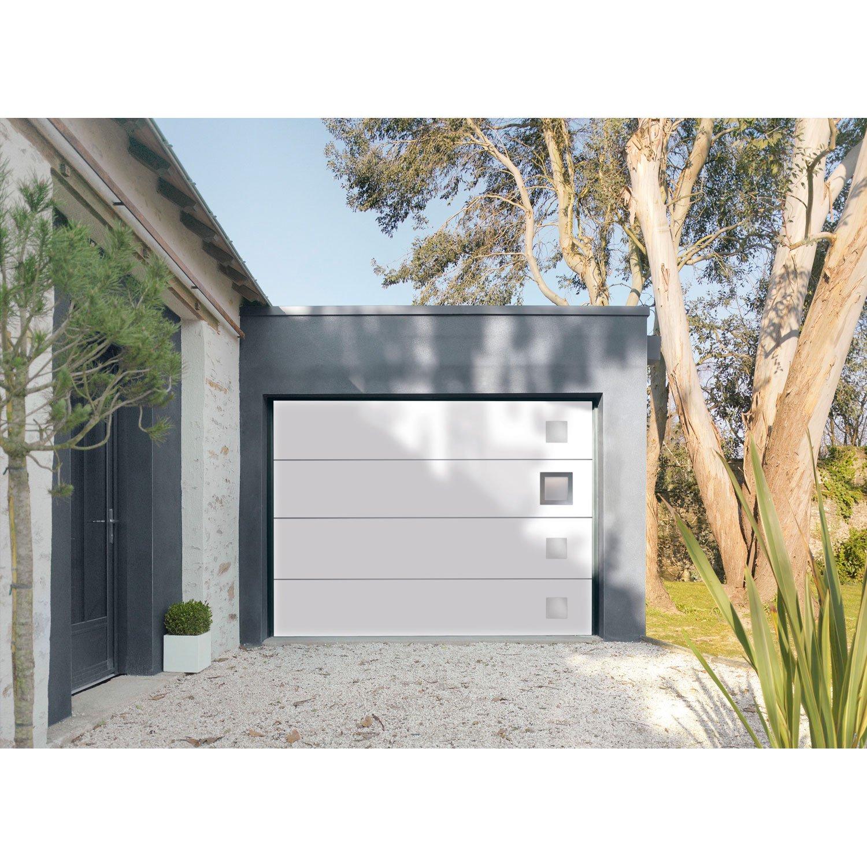 Porte de garage sectionnelle motorisée en acier h. 200 cm l. 300 cm