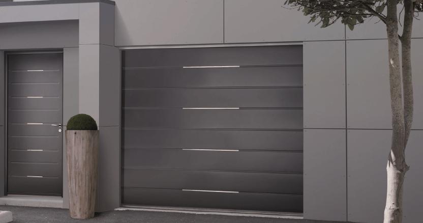 Porte de garage sectionnelle motorisée chene doré
